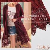外套 露比設計鉤花珍珠蝴蝶結長版針織外套-酒紅色-Ruby s 露比午茶