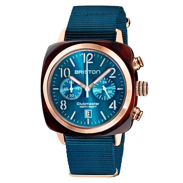 BRISTON CLUBMASTER 經典雙眼計時腕錶-孔雀藍