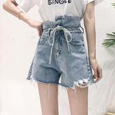 中大尺碼 不規則毛邊高腰系帶寬鬆牛仔短褲女夏2018新款超火熱褲子氣質zzy812『雅居屋』
