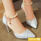 新款高跟涼鞋女尖頭銀色女鞋細跟單鞋韓版