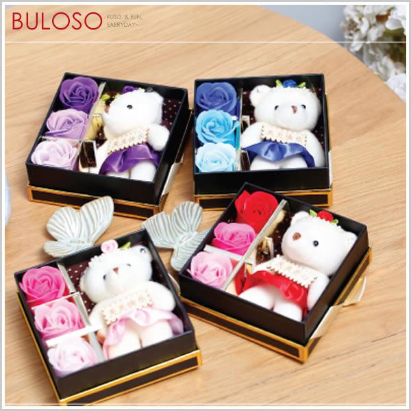 《不囉唆》3朵香皂花小熊公仔禮盒 玫瑰花/肥皂/禮品/禮物/情人節/香氛/熊/愛心【A401407】
