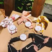 夏季休閒新款手錶簡約學生石英表日系少女小清新布帶圓表綁帶腕表     麻吉鋪