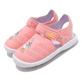 adidas 涼拖鞋 Fortaswim Stripes C 粉紅 白 童鞋 中童鞋 黛西 魔鬼氈 拖鞋 【ACS】 FW6052