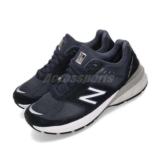 New Balance 慢跑鞋 990v5 NB 藍 深藍 麂皮鞋面 美國製 運動鞋 女鞋【ACS】 W990NV5D