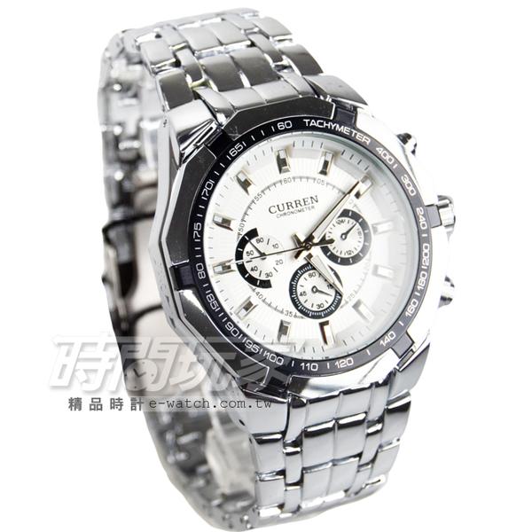 CURREN 卡瑞恩 仿三眼造型時尚男錶 防水手錶 大錶盤 學生錶 指針錶 CU8084白