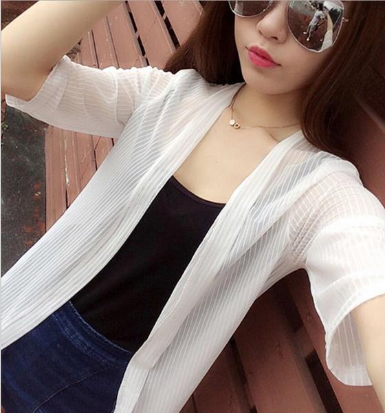 純色 短袖 拼接 雪紡 網紗 防曬衣 春夏款 韓版