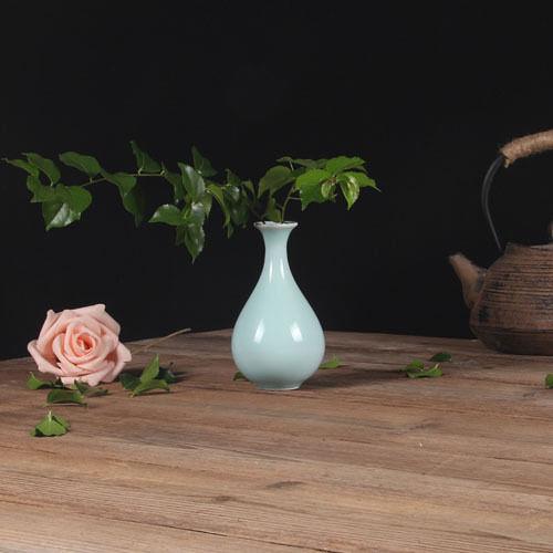 F0480 龍泉窯青瓷花插 中號小花瓶 陶瓷手工制作禮品 台面花器 家居擺件