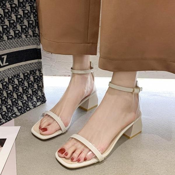 涼鞋女2021年新款夏季ins潮仙女風粗跟配裙子一字扣帶高跟羅馬鞋