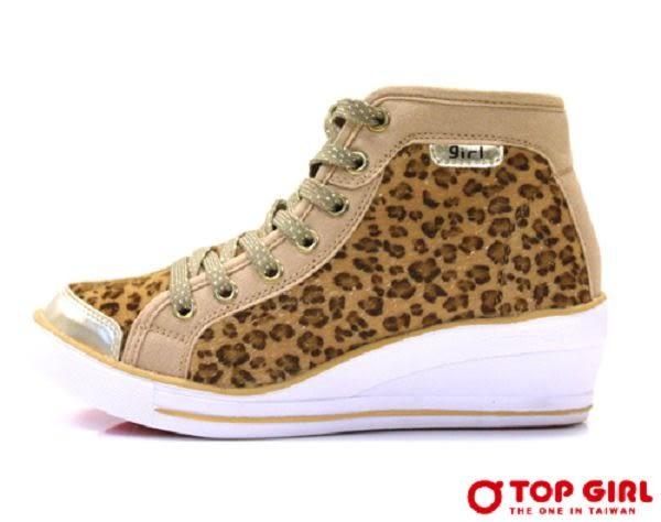 TOP GIRL  SESY GIRL狂野豹紋厚底鞋-香檳金