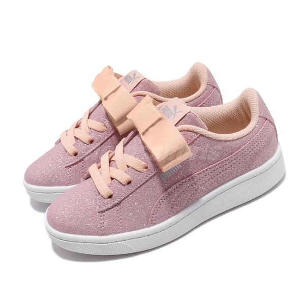 Puma 休閒鞋 Vikky v2 Ribbon Glitz AC PS 粉紅 橘 童鞋 中童鞋 運動鞋 【PUMP306】 37063402
