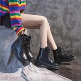 短靴 黑色馬丁靴女冬秋季新款英倫風瘦瘦高幫潮鞋百搭加絨刷毛短靴秋款
