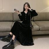 秋季法式金絲絨洋裝女秋冬裙子2020新款氣質黑色收腰秋裝小黑裙 【雙十一】