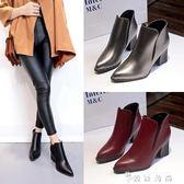 潮女短靴女英倫風粗跟靴子鉚釘尖頭馬丁靴秋冬季新款高跟鞋子 薔薇時尚