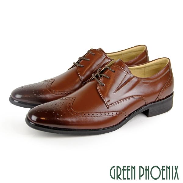 T29-18908 男款全真皮紳士鞋 台灣製歐風渲染布洛克雕花通勤/商務/紳士皮鞋【GREEN PHOENIX】