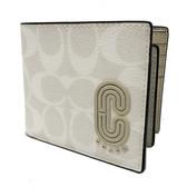 【COACH】C LOGO 8卡男款短夾附活動證件夾(米白/灰)