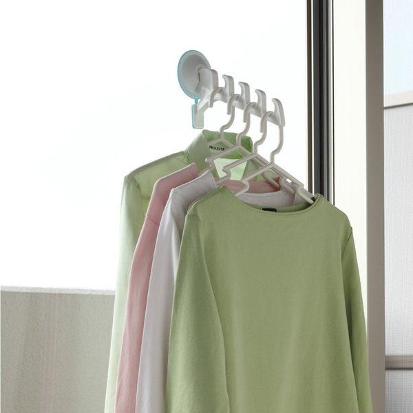 日本AISEN強力吸盤4連勾曬衣架