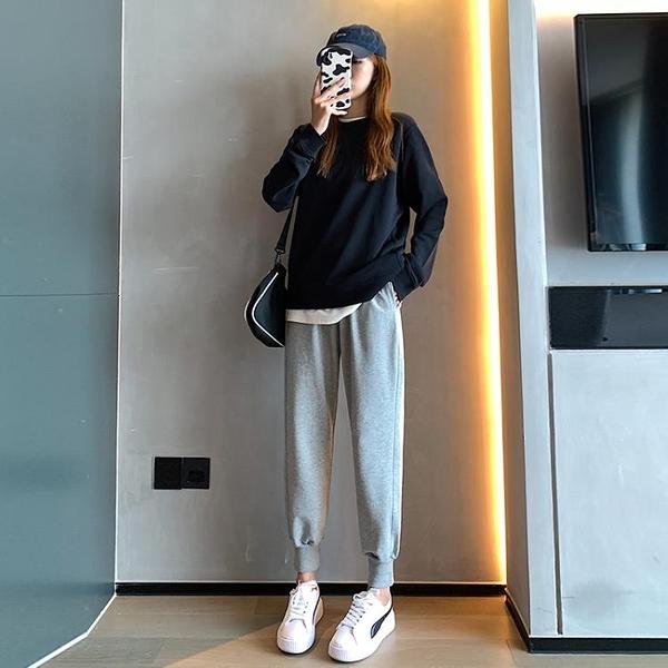 運動褲女寬鬆束腳褲春秋季顯瘦20201新款小個子灰色休閑衛褲 茱莉亞