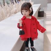 女童毛呢外套 女童風衣中長款童裝韓版新款兒童秋裝外套薄款寶寶風衣外套潮 麗人印象 免運