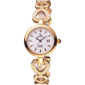 Olympianus 奧柏 恣心晶鑽鏤空手鍊女錶-珍珠貝x玫塊金/28mm 28032DLR