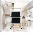金德恩 台灣製造 全鋼鐵加大止滑腳踏板 二階扶手平台折疊梯/樓梯/階梯/關節梯/馬椅梯/拉梯/單梯