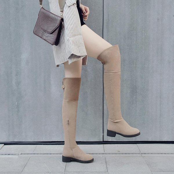 膝上靴長靴子女秋冬過膝靴平底2018新款百搭側拉鏈長筒靴保暖加絨真皮靴 美芭