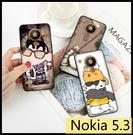 【萌萌噠】諾基亞 Nokia 5.3 彩繪磨砂手機殼 卡通塗鴉 超薄防指紋 全包矽膠軟殼 手機殼 手機套