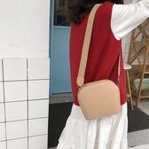 小包包2019新款寬肩帶復古拉鏈斜挎貝殼包韓版學生百搭單肩包女士