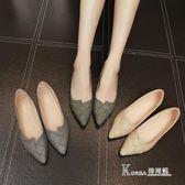 韓版尖頭平底鞋淺口簡約平跟單鞋純色格子低跟女鞋 【korea時尚記】