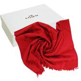 【COACH】經典COACH LOGO 羊毛混桑蠶絲流蘇絲巾披巾(紅)