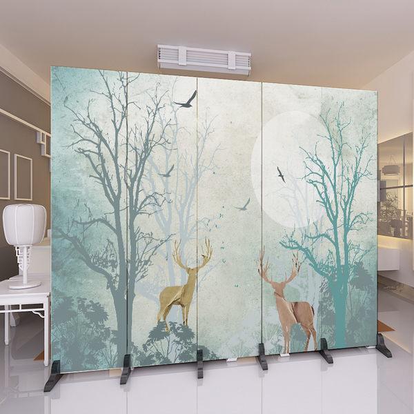 屏風 隔斷牆客廳小戶型臥室現代簡約時尚折屏移動折疊雙面辦公室(6扇價格)xw