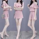 雪紡洋裝 連身裙女裝2021年夏季新款小個子短款雪紡衫時尚套裝裙子兩件套潮