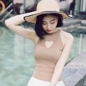 小愛心鏤空 掛脖無袖背心上衣女露肩純色氣質打底針織衫夏季     俏女孩