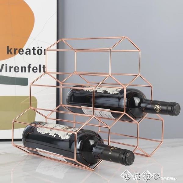 歐式金屬紅酒架創意擺件葡萄酒架子家用裝飾酒瓶架子酒櫃裝飾展示 璐璐