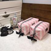 新品旅行化妝包韓國可愛少女心手包式防水洗漱包大容量便攜收納袋【Pink Q】