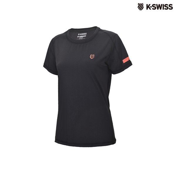 K-Swiss Poly Tech w/mesh Tee運動排汗T恤-女-黑
