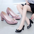 女鞋中跟鞋新款百搭四季粗跟圓頭單鞋休閒淺口套腳時尚蝴蝶結女士中跟高跟鞋 萊俐亞
