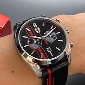 星晴錶業-FERRARI法拉利男女通用錶,編號FE00004,44mm銀錶殼,深黑色, 紅錶帶款