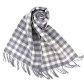 美國正品 COACH 小C LOGO/格紋雙面用羊毛流蘇圍巾-淺灰色【現貨】