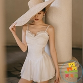 裙式連身泳衣女溫泉可愛保守顯瘦遮肚蕾絲吊帶沙灘游泳裝【樂淘淘】