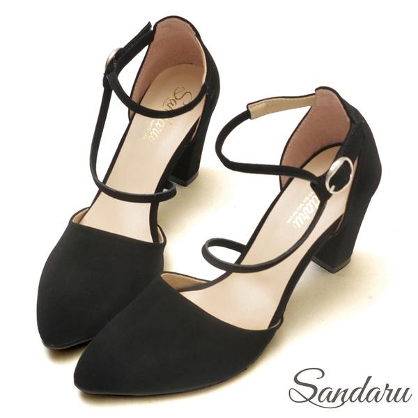訂製鞋 尖頭側空繞帶魔鬼氈高跟鞋-山打努SANDARU【03A1338】黑色下單區