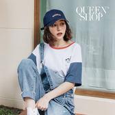Queen Shop【01037862】刺繡小貓撞色袖短T*現+預*