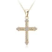 項鍊 925純銀水晶吊墜-十字架造型生日情人節禮物女飾品2色73bh29【巴黎精品】