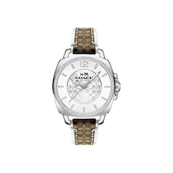 COACH 時尚經典LOGO腕錶/銀x咖/14502416