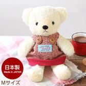 Hamee 日本製 手工原創商品 紅色吊帶裙 絨毛娃娃 玩偶禮物 泰迪熊 (奶油色/M) 640-110602
