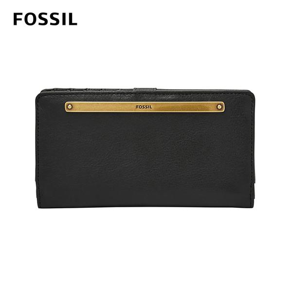 FOSSIL LIZA 輕巧型真皮零錢袋長夾-黑色 SL7891001