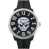 Tendence 天勢 立體數字骷髏手錶-黑/50mm TG330004