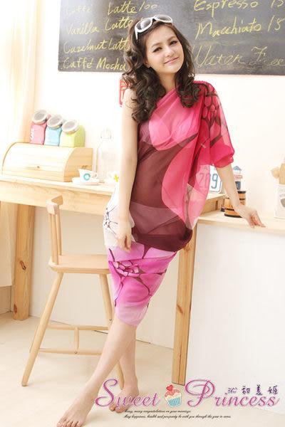 泳衣配件 扶桑花雪紡紗龍圍紗裙 - 繽紛夏艷(紫紅扶桑花)  -沁甜美姬
