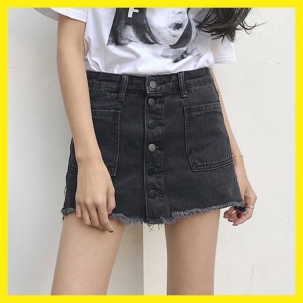 ★百搭顯瘦毛邊牛仔裙學生短裙A字裙潮~