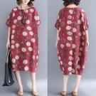 中大尺碼洋裝 加肥加大碼女裝200斤胖mm遮肚子顯瘦棉麻文藝連身裙2021夏裝新款