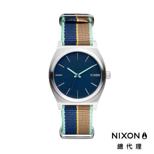 【官方旗艦店】NIXON TIME TELLER 極簡小錶款 帆布錶帶 藍X褐條紋 潮人裝備 潮人態度 禮物首選